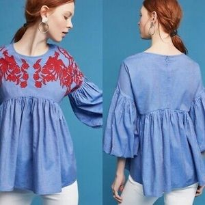 Anthropologie Lianna Embroidered Blouse xs
